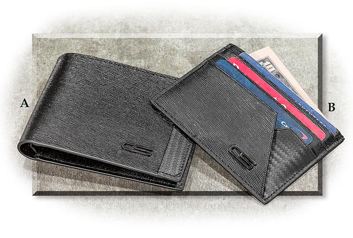 Italian Leather & Carbon Fiber Bi-Fold Wallet or Credit Card Sleeve