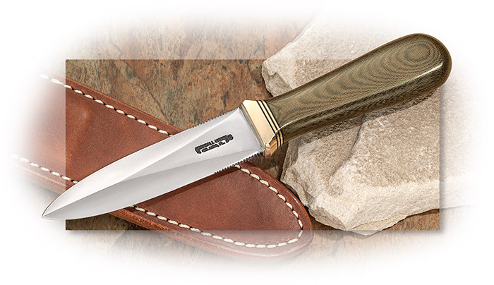 RANDALL MODEL 24 GUARDIAN - 4 INCH STAINLESS BLADE - GREEN MICARTA HANDLE - BRASS HILT