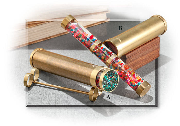 Classic polished brass Kaleidoscope - handmade with high grade mirrors, natural stones, etc.