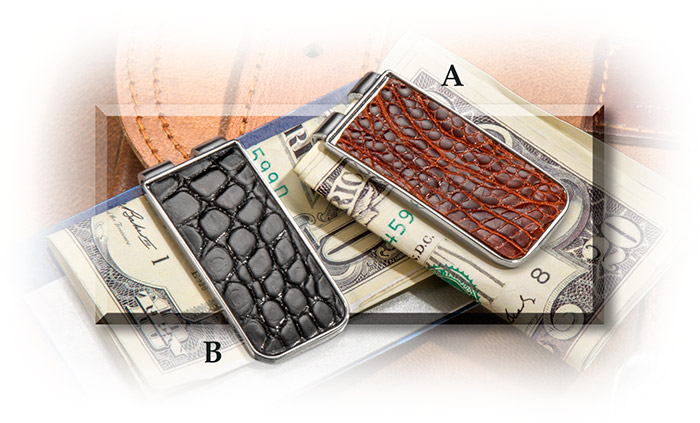 Black and Brown American Alligator leather Money Clip