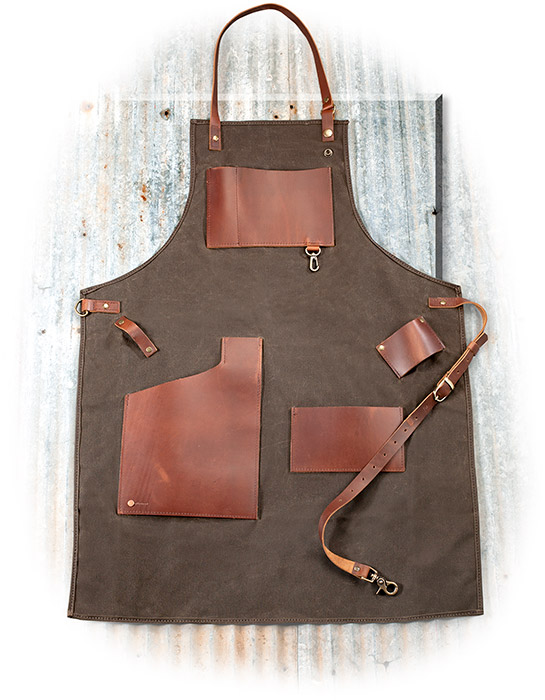 LEATHER AND CANVAS JOURNEYMAN APRON - FIELD TAN / BROWN ACCENTS DURABLE WAXED CANVAS