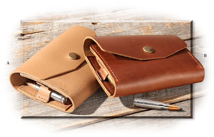 LEATHER AMMO CASE - BUCKSKIN - HOLDS 11 BULLETS HOLDS 3-1/4 TO 3- 1/2 INCH BULLETS - SNAP CLOSE
