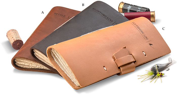 LEATHER LOG BOOK - Hand-stitched leather hunting, fishing, or Wine log / journal