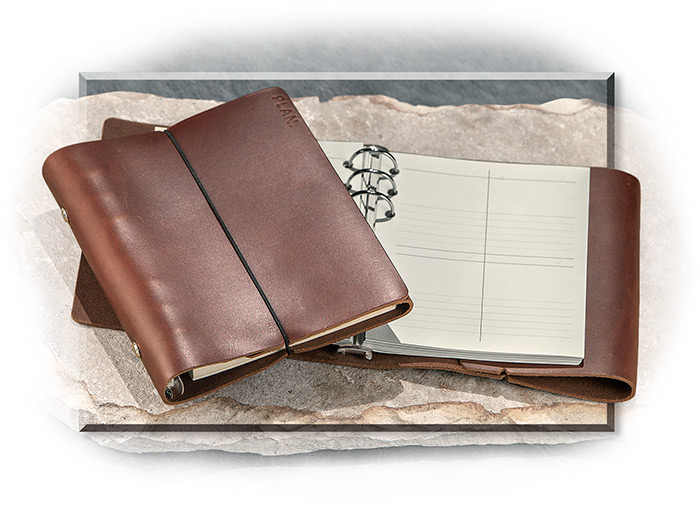 LEATHER WEEKLY PLANNER - BROWN LEATHER - SIX RING BINDER COMES WITH INSERTS FOR 12 MONTHS