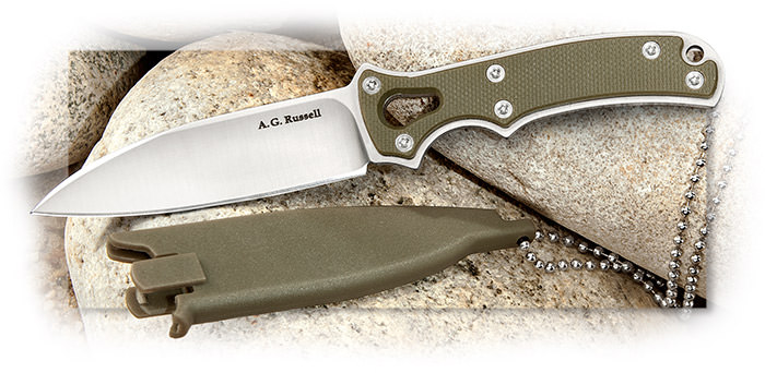 Small, thin, unobtrusive utility neck knife with flat ground general purpose blade and green G-10