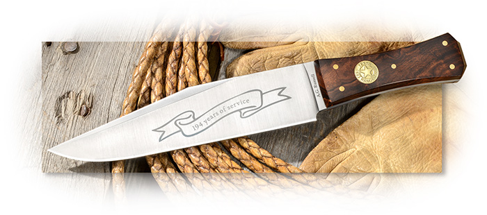 A.G. Russell 2017 Texas Ranger Fixed Blade Bowie in AUS-10 with Coffin Desert Ironwood handle