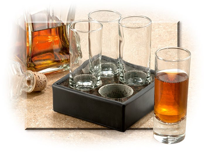 HANDMADE GRANITE CORDIAL CHILLERS - INCLUDES FOUR 2-1/2 OZ GLASSES - GRANITE HOLDER - GIFT BOX