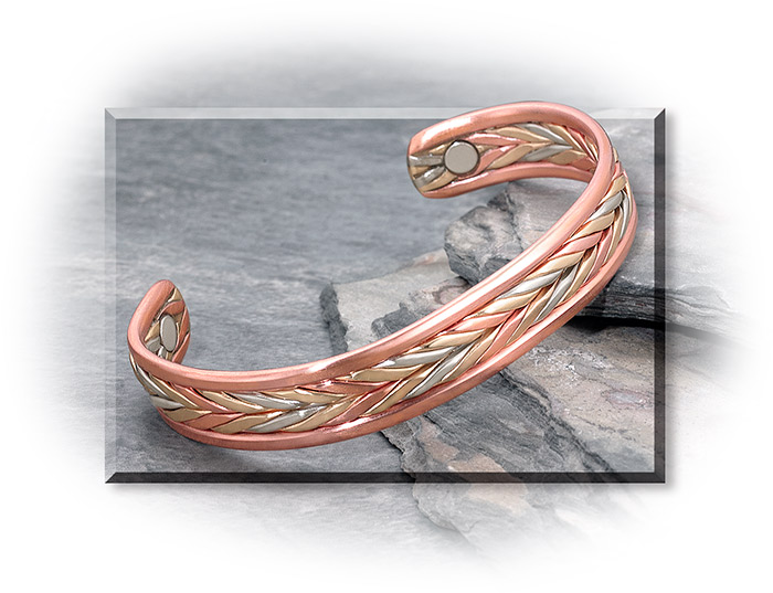 MAGNETIC & COPPER WHEAT BRACELET - TWO RARE EARTH MAGNETS - CUFF STYLE