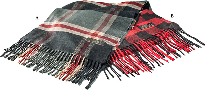 "100% CASHMERE SCARF - BLACK/RED/BEIGE PLAID - 65"" X 12 1/2"" - DRY CLEAN ONLY"
