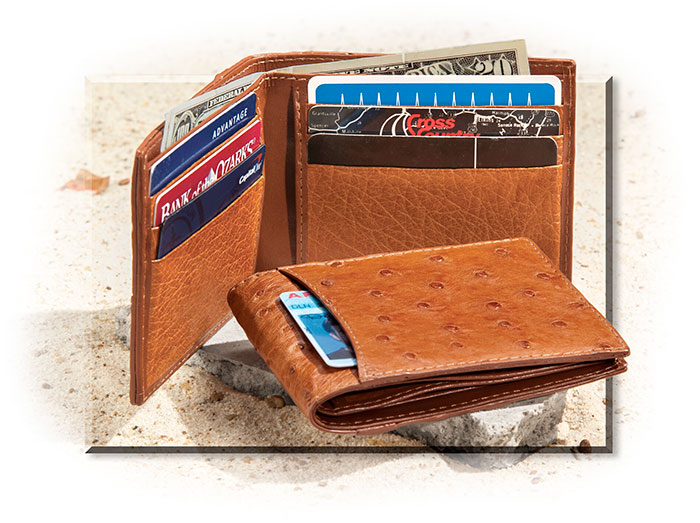 Genuine Ostrich Leather Bi-Fold Wallet