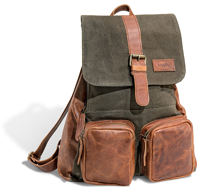 Leather & Canvas Backpack