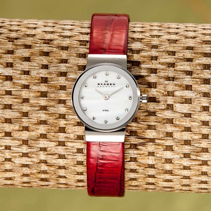 Watch with Red Leather Band