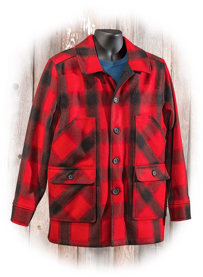 STORMY KROMER MACKINAW COAT - RED & BLACK PLAID - 100% VIRGIN WOOL - BUTTON CLOSURE - MADE IN USA