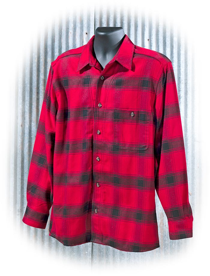 STORMY KROMER FLANNEL SHIRT - MEDIUM - RED & BLACK PLAID - BUTTON UP - LONG SLEEVE