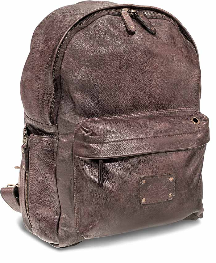 Dark Brown Supple Goat Leather Backpack by Skully Leather