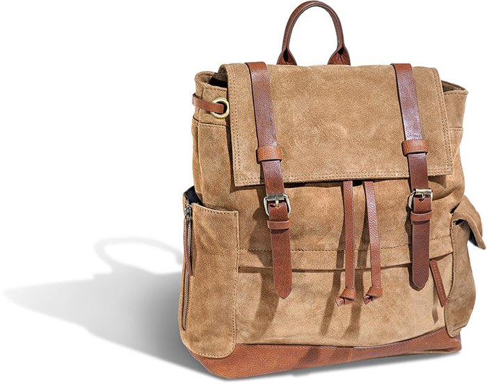 Suede with Leather Trim Backpack