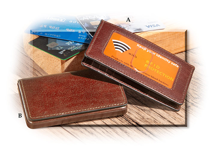 SCULLY ITALIAN LEATHER SMALL TRI-FOLD CARD WALLET - RFID PROTECTION WINDOW