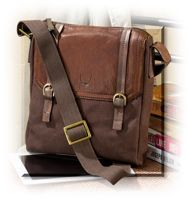 Chocolate Brown Canvas & Leather Messenger