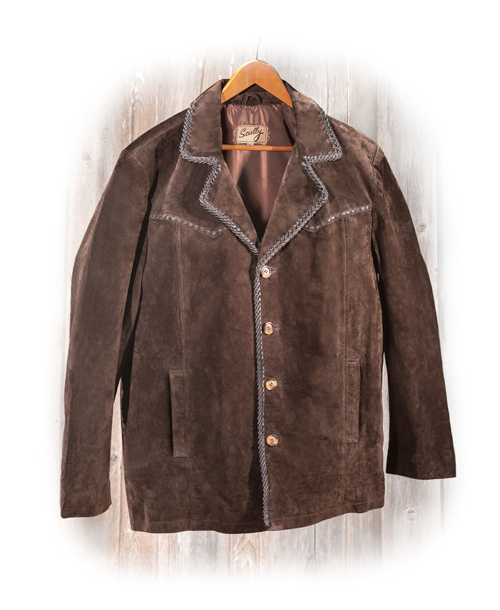 Genuine BOAR SUEDE JACKET - DARK BROWN - PICK STITCH TRIM - BUTTON CLOSE