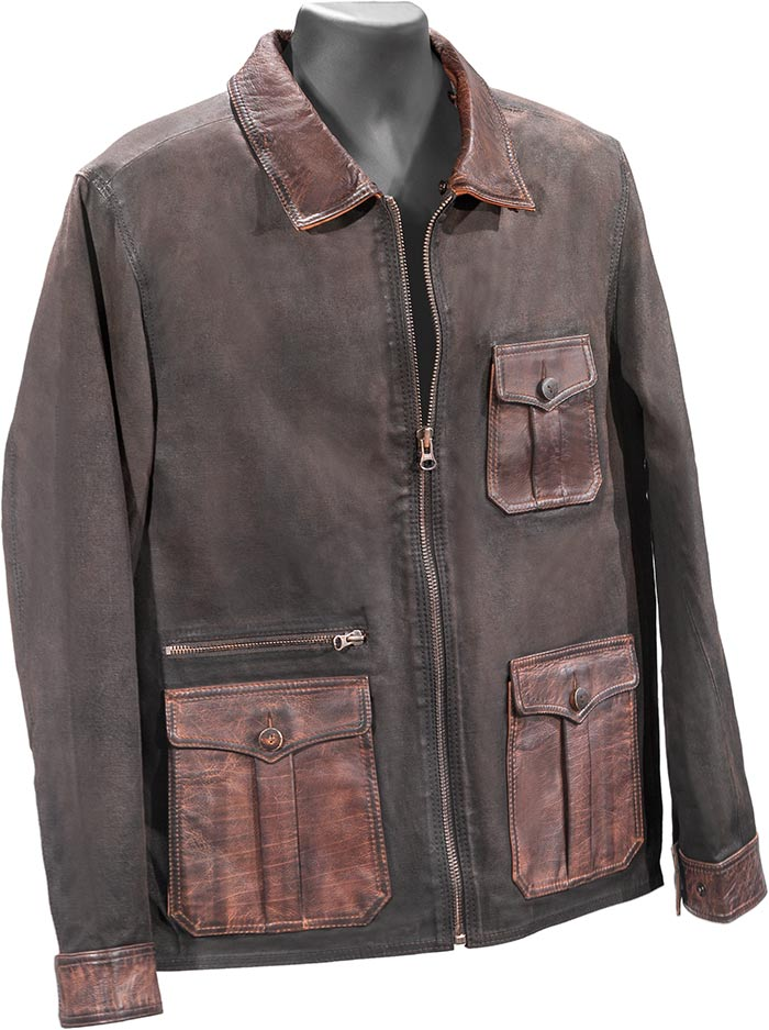 Water repellant BROWN CANVAS AND LEATHER TRIM JACKET - DETACHABLE SHEARLING COLLAR
