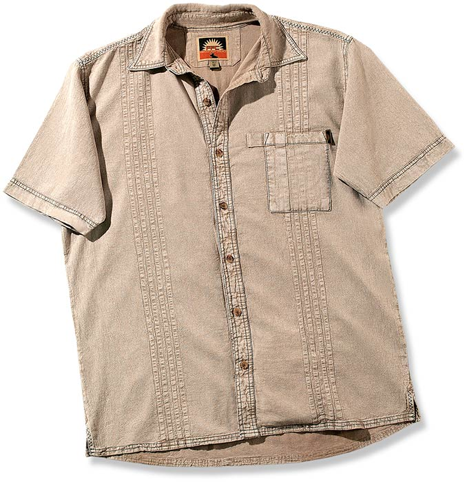 100% Peruvian Cotton Tan Traveler's Short-Sleeve shirt - button up, collared, shirt pocket, comfort.