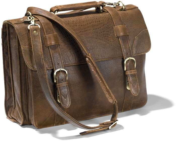 "81st Aero Squadron Satchel made with ""Antique Lamb"" brown leather. Padded sleeve for laptops"
