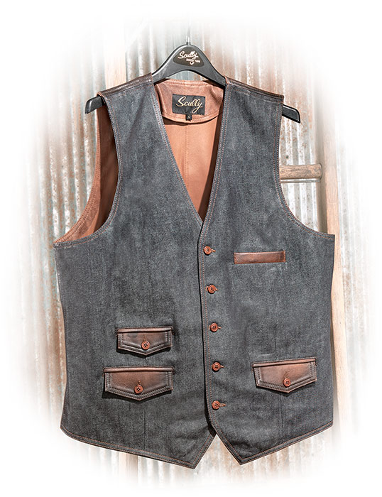 Leather Trim Denim Vest medium
