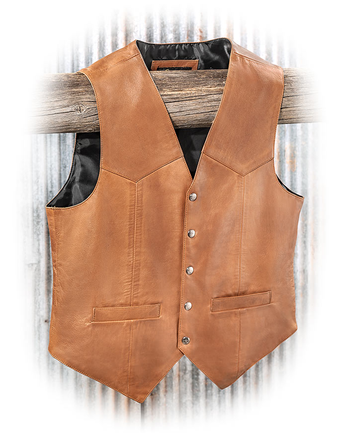 SCULLY LEATHER - SADDLE TAN LAMB LEATHER VEST
