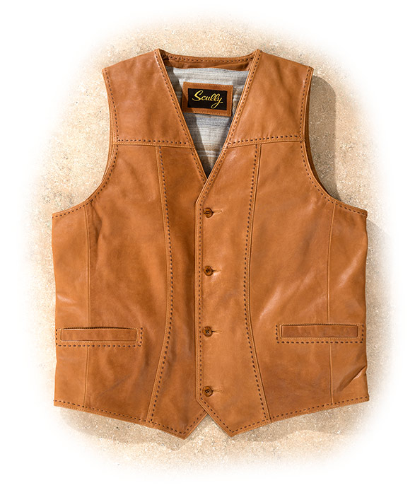 Western Style Lamb Leather Vest medium