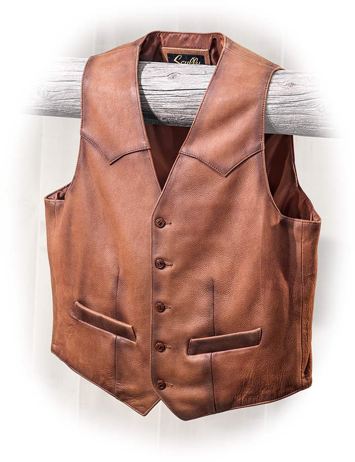 Big and Tall Lamb Skin Leather Vest by Scully