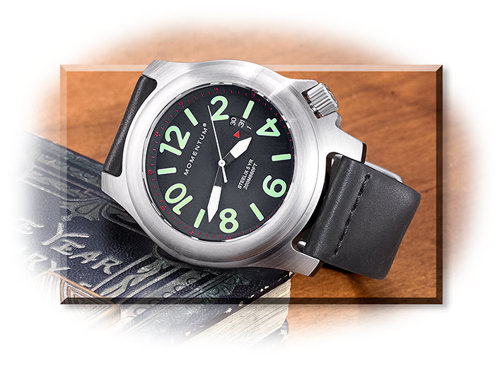 Analog Watch with Black Leather Band