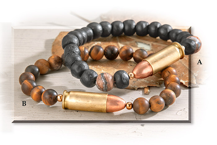 Re-purposed Brass Shell Casing & Stone Bead Bracelets Mammoth tooth beads
