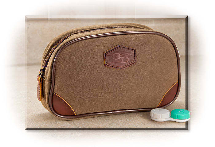 Waxed Tin Canvas Cloth Khaki Toiletry Kit Bag