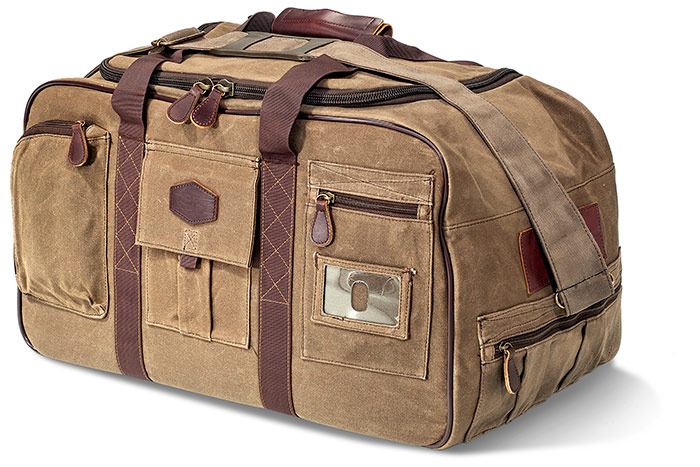 Khaki Waved Canvas Tin Cloth Duffel Bag with U-shaped main opening compartment