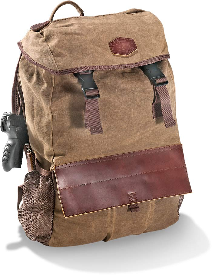 Khaki Tin Cloth Waved Canvas Backpack with Leather accents and trim. Water Resistant