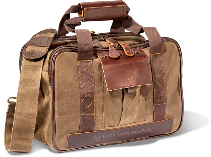 TIN CLOTH BRIEFCASE - CHESTNUT BROWN W/ GENUINE BROWN LEATHER ACCENTS