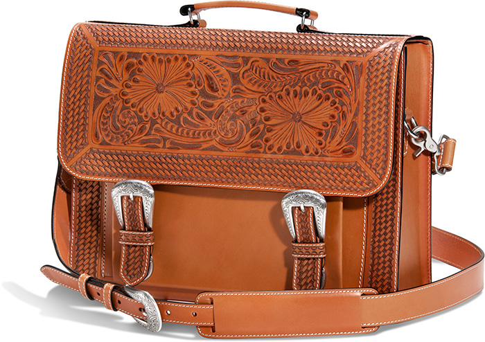 Genuine Tooled Leather Briefcase