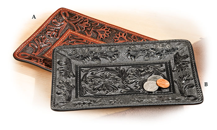 Hand-Tooled Leather Valet Tray Brown