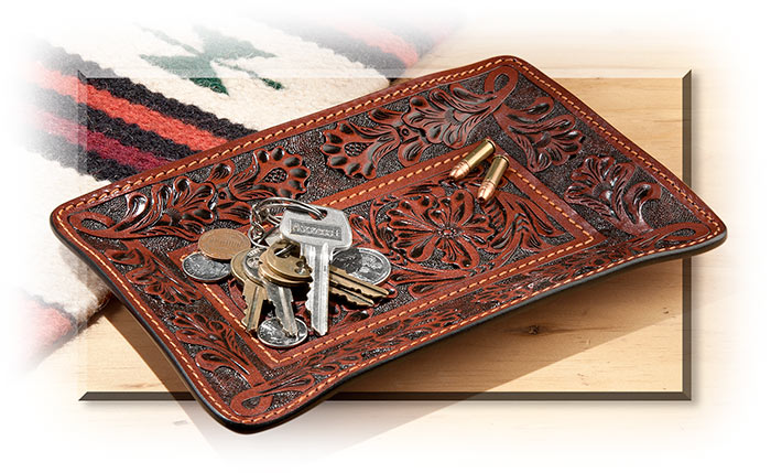 Hand Tooled Leather Valet Tray Russell S For Men
