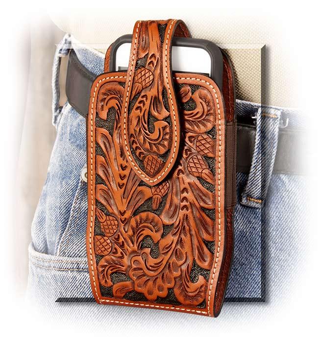 timeless design 94368 af671 Tooled Leather Phone Belt Holster