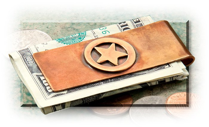 TEXAS STAR BRONZE MONEY CLIP - 2-1/2