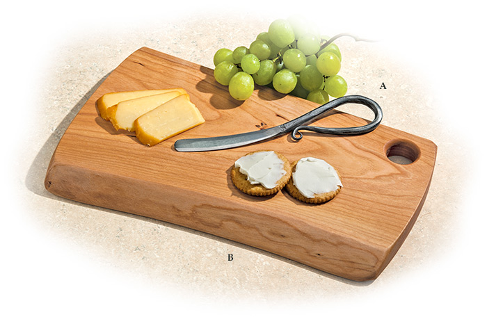 Cheese Knife/Spreader and Cherry Cutting Board