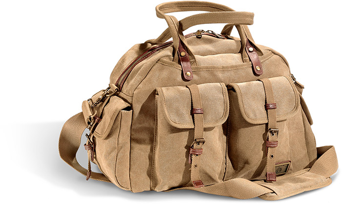 KHAKI CANVAS DUFFEL - 16 oz gauge CANVAS W/ BROWN FAUX LEATHER TRIM - KHAKI NYLON LINING