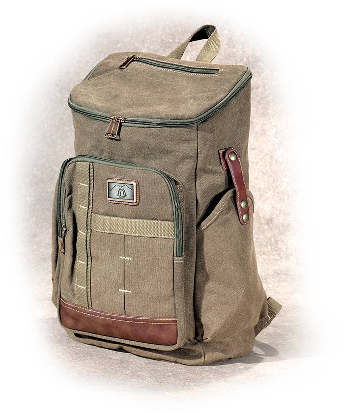 Green Canvas Backpack - durable 16oz thick canvas, retro army green canvas lining