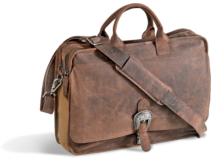 Leather and Canvas Briefcase