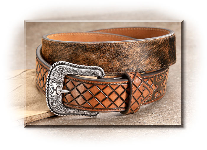 Genuine Hair-On-Hide Diamond Pattern Leather Belt