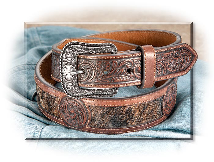 Hair-On-Hide Genuine Leather Belt