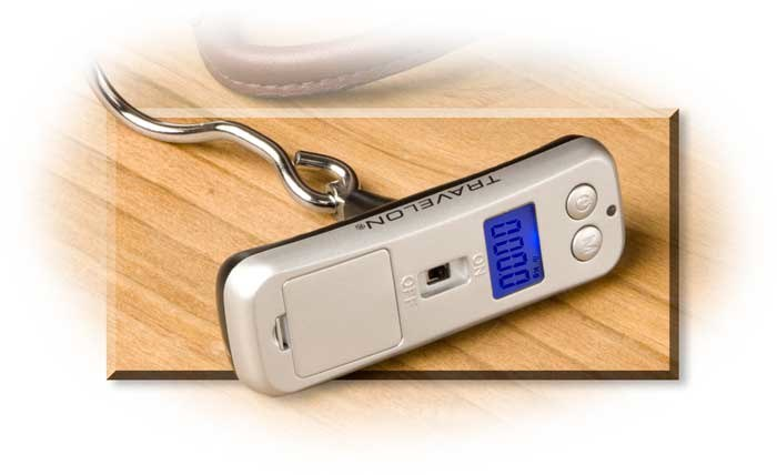 MICRO LUGGAGE SCALE - BLACK - WEIGHS UP TO 110 LBS - RUNS ON 2 CR2032 BATTERIES INCLUDED