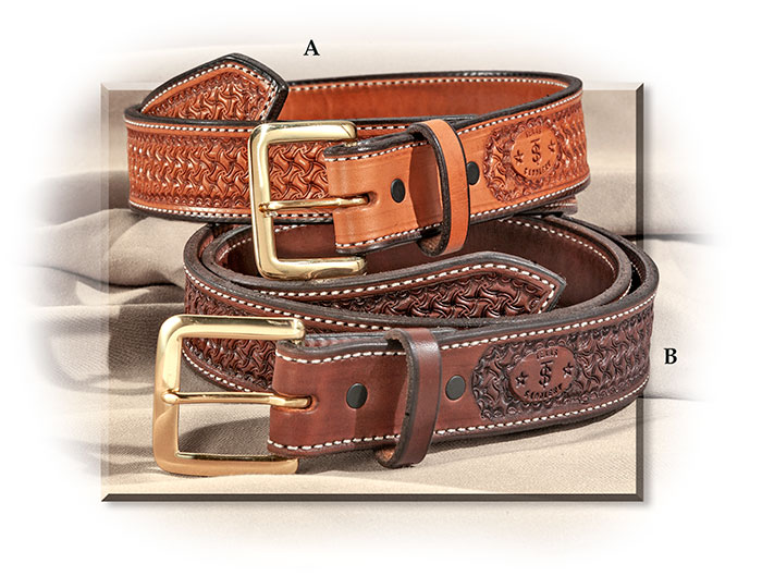 Hand TOOLED LEATHER BELT - SADDLE TAN / Dark Chocolate- CONTRASTING STITCHING - BRASS COLORED BUCKLE