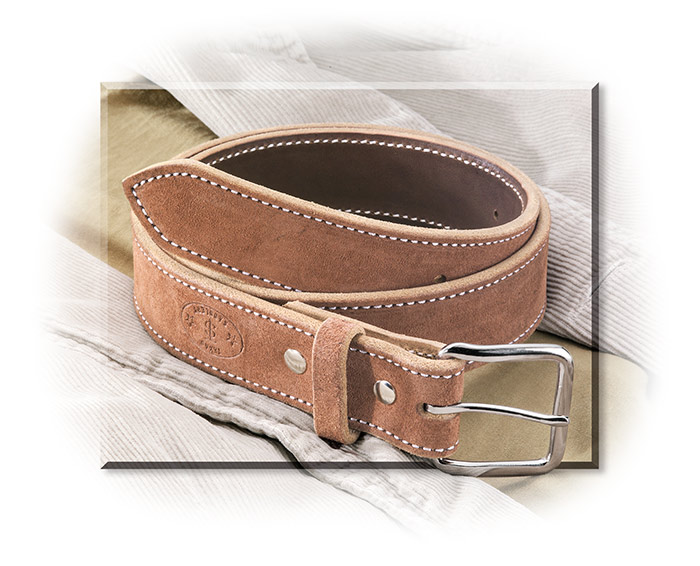 Men's ROUGHOUT LEATHER BELT - CHOCOLATE WITH CONTRASTING STITCHING - CHICAGO SREWS
